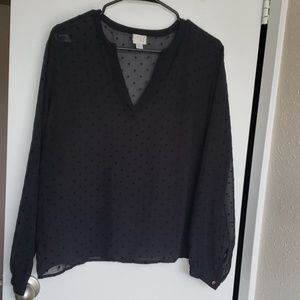 Billowy Swiss dot blouse